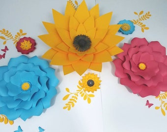 Large red flowers wall. Large sunflowers wall decor. Large blue paper flowers wall decor. Nursery flowers wall. Baby shower flowers backdrop
