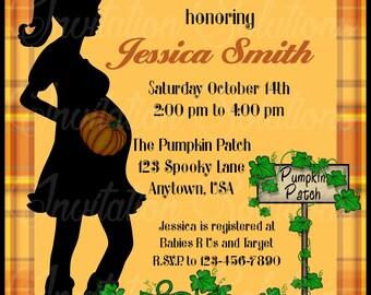 Halloween Themed Baby Shower Invitation/ October Baby Shower Invite/ Pumpkin Patch Themed Baby Shower Invitation