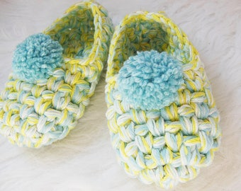 Kids House Shoes - Pom pom girls slippers - Children slippers - Toddler house slippers with turquoise POM POMS - GIFT - Non slip slippers
