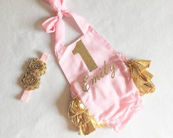 1st birthday romper - pink and gold romper - 1st birthday girl outfit - first birthday girls outfit - first birthday romper - halter romper