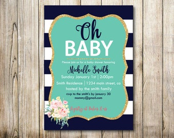 Stripes - pastels - navy -floral Baby Shower Digital Invitation