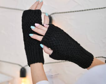Gift/for/mom birthday gift Warm fingerless Black fingerless Crochet fingerless gloves Fingerless mittens Wool mittens Womens fingerless knit
