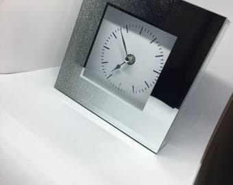 Sparkly Silver Glitter Clock