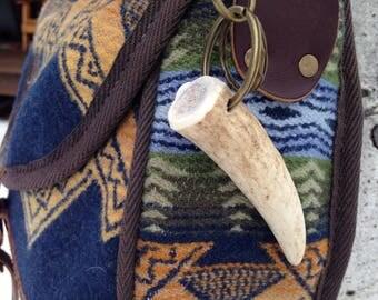 """2.8"""" Elk Antler Key Chain/Bag Clip"""