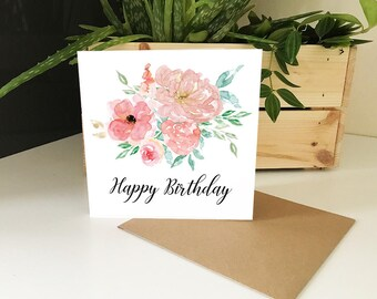 Floral Pink Happy Birthday Card