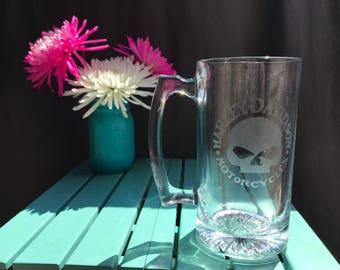 Glass Etched Harley Davidson Willy G  Beer Mug - Stien Great Gift For Motorcycle Rider Dad Grandpa Free Personalization