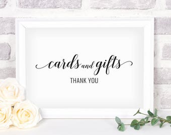 Printable Cards and Gifts Sign. Bridal Shower Sign. Wedding Sign. Cards and Gifts #2