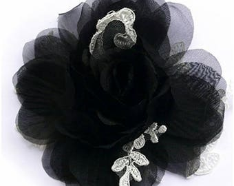 Flower brooch made of organza and lace, black and ivory color.