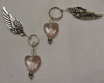 Pink Heart Bead  & Angel Wing Charms