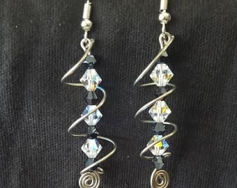 Crystal Spiral Dangle Earrings