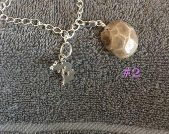 Michigan Petoskey stone charm bracelet