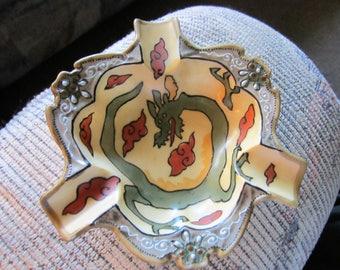 Beautiful hand-painted Nippon dragon moriage ashtray