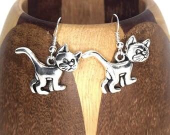 "Cat ""Azrael"" silver plated, cat ""Gargamel"" clip earrings"