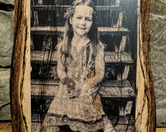 """8x10"""" Personalized Photo Transfer on Natural Wood"""