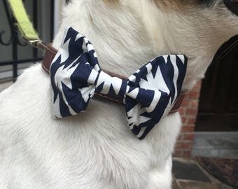 Pet Bow/ Bow Tie- Navy and White 'Stripes'