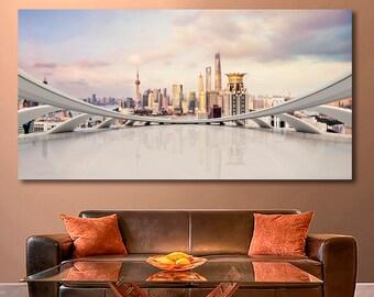 Modern city skyline Cityscape canvas City Skyline canvas City Skyline art Cityscape photo Cityscape print Cityscape wall art Large canvas