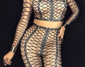 Black design rhinestone full body leotard