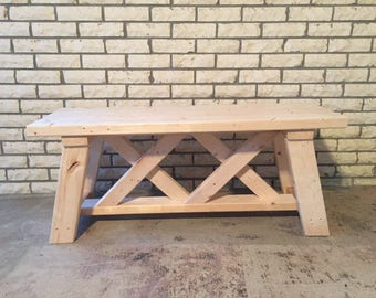 Wooden Double X Bench