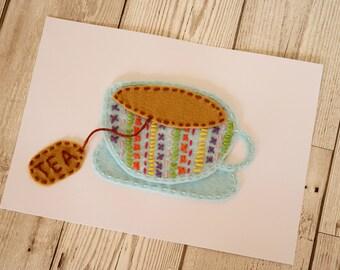 Tea felt art / Tea print / Tea gifts / Tea lover / Kitchen print / Kitchen wall art