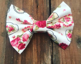 Hair bow, floral hair bow, white hair bow, hair clip, bow hair clip, fabric bow