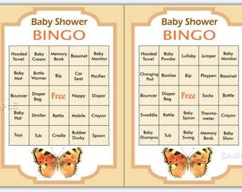 butterfly  baby shower bingo, 60 butterfly Baby Shower Bingo Cards -  baby shower Bingo Card , Printable Blank Bingo Cards & PreFilled Cards