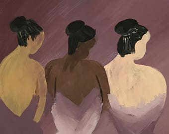 """3 Dancers (hand-painted acrylic on canvas - 11"""" x 14"""") READY TO SHIP"""