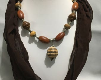 Brown Wooden Tribal Necklace, Dragon Toggle Clasp, Wooden Necklace, Tribal Necklace, Women's Necklace, Handmade Necklace, Bali Beads