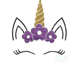 Floral Unicorn svg, unicorn baby shower svg, baby girl svg, floral unicorn head svg, unicorn with flowers svg, birthday girl svg