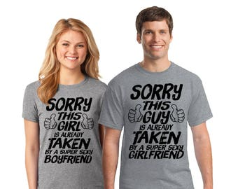 Couples Sorry This Girl/Guy Is Taken T Shirts Cute Couple Shirts for Valentine's Day Funny Taken Shirts for Couples Valentine Gifts