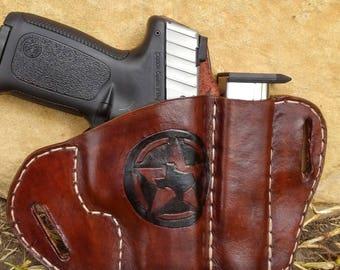 Texas Edition Saddle Holster with extra magazine holder