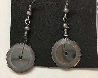single silver gear earrings