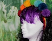 Rainbow 2 PomPom Crown