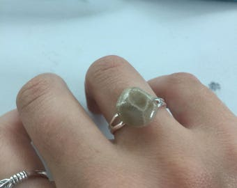 Petoskey stone ring