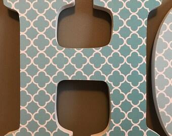 Wood Letters - Home Decor - Teal/Orange/Grey