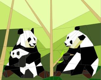 Panda Family Paper Piecing Pattern