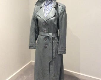 Vintage 1980's mid grey leather coat UK size 8-12