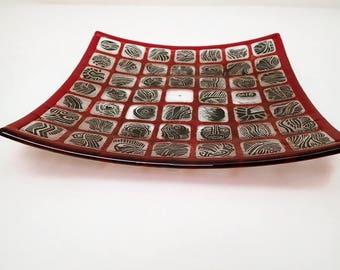 Fused plate,painted plate, decorative plate, handmade fused plate, original design, glass art