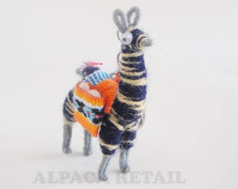 3 PACK 6 PACK Zebra Tiny Llama Keychain ethnic decoration gift bag accessories, Andean Collectible Handcrafted Miniature Figurine