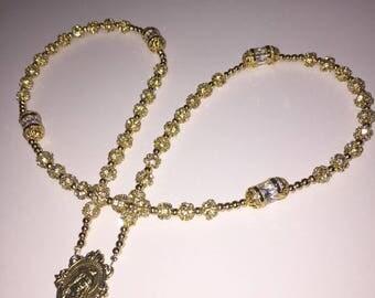 Handmade White Gold Rhinestone Catholic Rosary | Custom | Personalized Gifts | Wedding | Communion | Baptism
