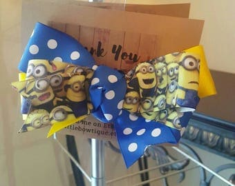 Minions triple stacked hairbow