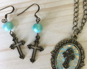 Vintage Cross Pendant and Earring Set