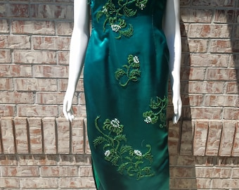 1950's Fitted Mandarin Style Silk Full Length Dress