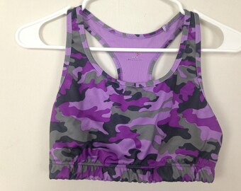 Purple and grey camo sports bra size M