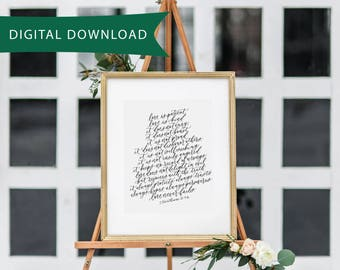 PRINTABLE 8x10 - 1 Corinthians 13 calligraphy print - Wedding Decor - Home Decor - Christian Art