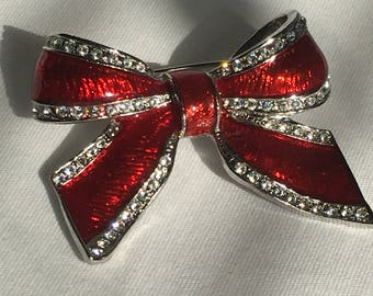 Red Enamel Bow Brooch, Clear Rhinestones, Silver Tone, Christmas Pin, Pin, Vintage, 1990s