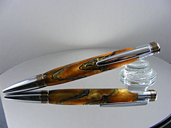 Knurled Twist Ink Pen in Chrome with gold accents and Acrylic