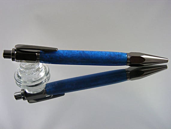 Handcrafted Industrial Pen in Gunmetal and Blue Acrylic