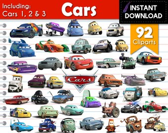 Instant Download - Cars 3 Cars 2 Cars Lightning Mcqueen Cliparts PNG Transparent DIY Party Printables Scrapbooking - Digital Files