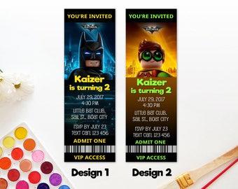 Personalized Lego Batman Robin Boy Wonder Birthday Party Invitation Invite Printable VIP Ticket Access Admit One DIY - Digital File