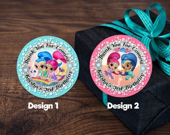Personalized Shimmer and Shine Genies Round Labels Thank You Tags Favor Stickers Birthday Party Gift Tag Printable DIY - Digital File